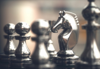 Chess Pieces. Pieces of chess game, image with shallow depth of field.