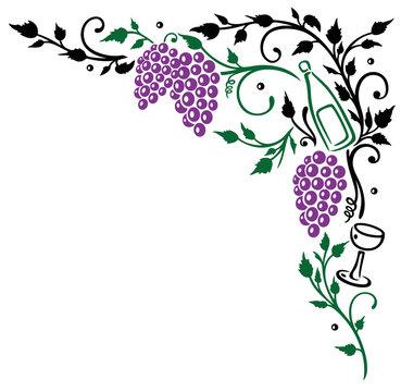 Wein, Weintrauben, Weinblätter, Ranke