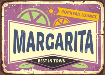 Cocktail bar retro sign design for Margaritas, one of the most popular cocktail drinks. Vintage advertise on purple violet background. Vector illustration.