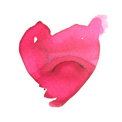 Hand-drawn watercolor painted red heart. Element for your design.