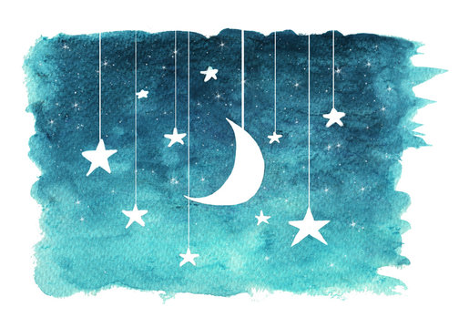 The moon and stars hanging from strings painted in watercolor on white isolated background, night sky background