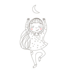 Cute  little girl exercising yoga under the moon