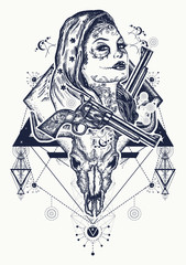 Mexican criminal tattoo art and t-shirt design. Wild west woman, bull skull and mountains tattoo. Santa muerte girl. Sugar Skull. Santa Muerte mexican woman, old revolvers, crime scene