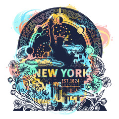 Statue of Liberty, New York and art nouveau flower color tattoo and t-shirt design. Big city New York city skyline concept art poster