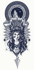 Tribal woman and mountains tattoo and t-shirt design. Native American woman tattoo art. Ethnic girl warrior