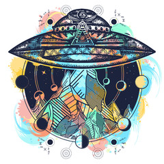 Ufo ship and mountains color tattoo art vector. Ufo outdoors
