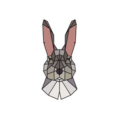 The face of a rabbit. Polygonal style. Vector illustration.