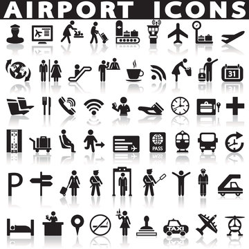 Airport icons set.