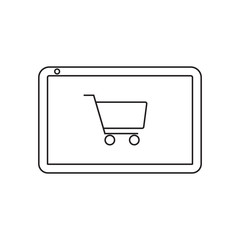Online shopping with tablet icon vector illustration. Free Royalty Images.