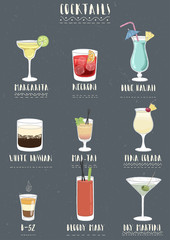 Set of alcoholic cocktails.