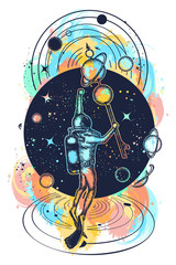 Astronaut in deep space and universe t-shirt design. Diver floats in space tattoo art. Symbol of science, research, space travel