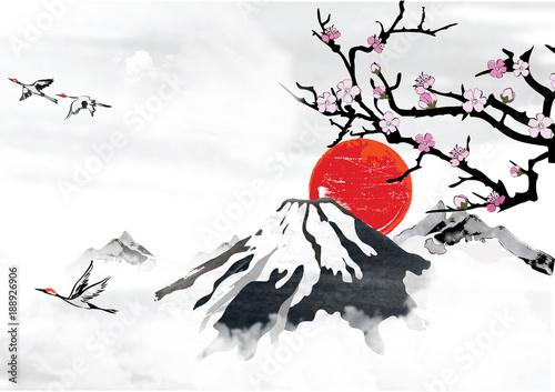 Traditional Korean Japanese Chinese Background For Greeting Cards With Mountains Blossom Branches