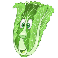 Cartoon Chinese Cabbage character. Green leafy Lettuce. Happy Vegetable symbol. Eco Food icon. Design element for kids coloring book, colouring page, t-shirt print, logo, label, patch or sticker.
