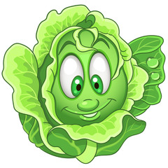 Cartoon Cabbage character. Iceberg Lettuce. Happy Vegetable symbol. Eco Food icon. Design element for kids coloring book, colouring page, t-shirt print, logo, label, patch or sticker.