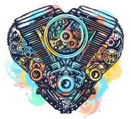 Mechanical heart tattoo. Heart explosion engine t-shirt design. Steampunk mechanic heart engine art