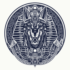 Anubis, god of war, Golden Mask of the Pharaoh, symbol of next world, kingdom of dead tattoo art. Anubis sacred geometry tattoo and t-shirt design