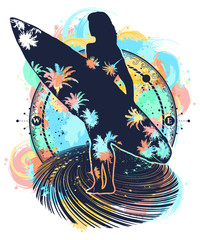 Space surfing sport color tattoo and t-shirt design water color splashes. Beautiful girl with a surfboard. Symbol of extreme sport, driving on sea waves, tropics, paradise