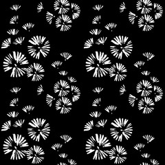 Seamless pattern with white doodle circles randomly distributed on a black background. Brush strokes. Flowers, dandelions, fireworks.