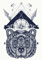 Bear and compass tattoo and t-shirt design. Northern grizzly bear