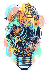 Light bulb tattoo and art nouveau flowers t-shirt design water color splashes. Symbol of the idea, creativity, creative, imagination, freedom. Tattoo light bulb