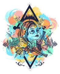 Mexican criminal tattoo art and t-shirt design water color splashes. Wild west woman and mountains tattoo. Santa muerte girl. Sugar Skull. Santa Muerte mexican woman, old revolvers, crime scene