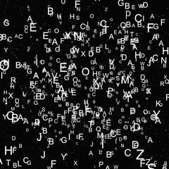 Abstract white alphabet fly on black background