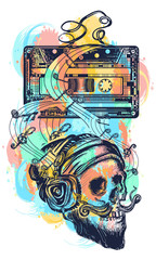 Human skull and old audio cassette watercolor splashes color tattoo. Skull of the bearded hipster in earphone listens to music. Symbol of pop music, disco t-shirt design