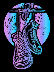 Boots hanging from electrical wire t-shirt design. Symbol of freedom, street culture, graffiti, street art. Sneakers on wires in space