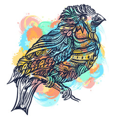 Magic birds watercolor splashes color tattoo and t-shirt design. Cute ornaments bird on a brunch art vector