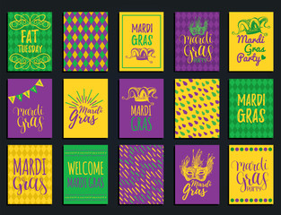 Mardi Gras vector hand lettering greeting cards set. Fat,Shrove Tuesday illustrations of jester hats,masks for stickers.