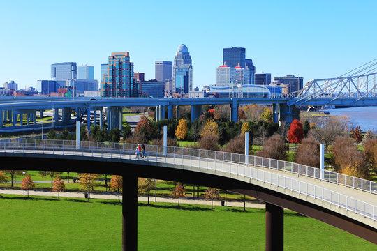 Louisville, Kentucky skyline with pedestrian walkway in front
