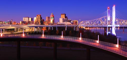 Louisville, Kentucky skyline at dusk