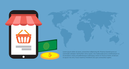 Online shopping around the world. Vector illustration. Free Royalty Images.