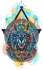 Anubis sacred geometry color watercolor splash tattoo and t-shirt design. Anubis, god of war, Golden Mask of the Pharaoh, symbol of next world, kingdom of dead tattoo art