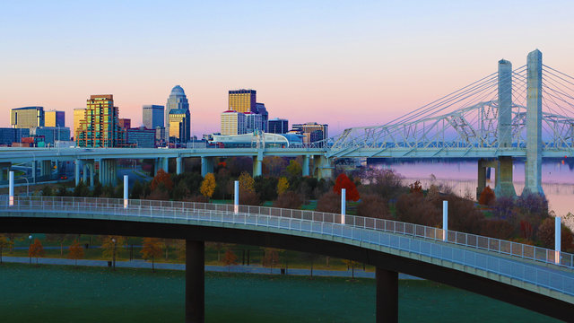 Louisville, Kentucky skyline at sunrise