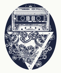 Retro music tattoo and t-shirt design. Old audio cassette and art nouveau flowers, symbol of pop music, disco. Symbol of retro music, nostalgia, 80th and 90th