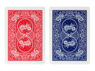 Back side poker playing cards isolated on white