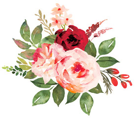 Flower bouquet with red an pink roses. Watercolor hand-painted illustration
