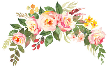 Flower bouquet with pink roses. Watercolor hand-painted illustration