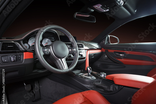 Modern Luxury Car Interior Steering Wheel Shift Lever And