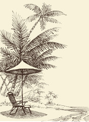 Relaxation concept. Hand drawn tropical background, beach, palm trees, umbrella and chair