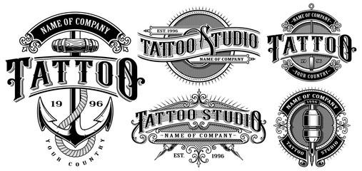 Set of vintage tattoo emblems (VERSION FOR WHITE BACKGROUND)