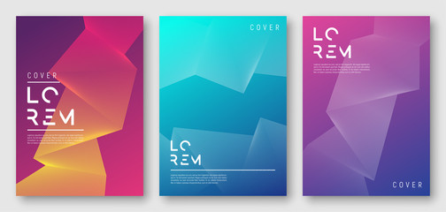 Abstract gradient geometric cover designs, trendy brochure templates, colorful futuristic posters. Vector illustration. Global swatches. Wall mural