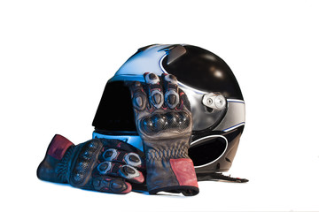 motorcycle helmet with glove on white background