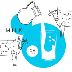 Vector illustration with a cow, a glass of milk, and a pitcher. Poster for advertising fresh natural milk.