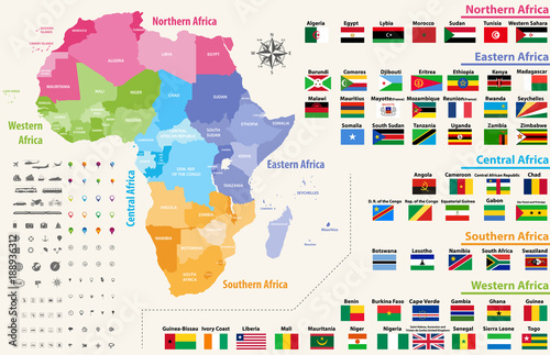 vector map of Africa continent colored by regions. All flags ...