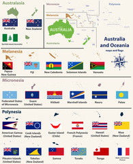 Australia and Oceania(include Australasia, Micronesia, Melanesia and Polynesia) map with isolated country maps and flags