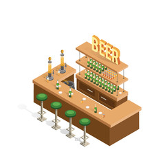 Isometric interior of beer bars on a white background. Sale of alcoholic beverages in bottles and cans.