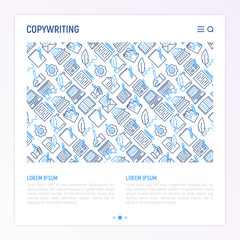 Copywriting concept with thin line icons: letter, e-mail, book, blogging, hand with pen, feather, typewriter, article, seo. Modern vector illustration for web page template, banner.