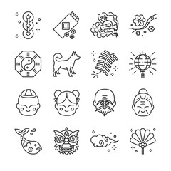 Chinese new year line icon set. Included the icons as firecracker, dragon, lion, dog, plum, fan, lamp and more.